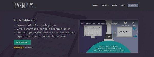 Posts Table Pro is a premium table WordPress plugin.