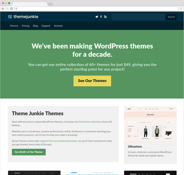 Theme Junkie offering themes for any type of website.