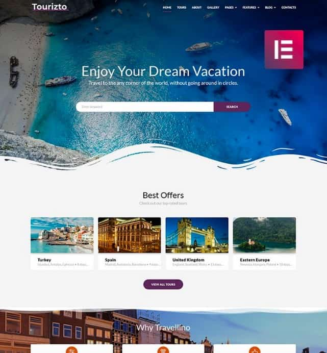 Tourizto is a travel and business WordPress theme.