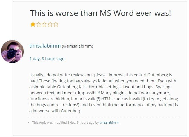 Unsatisfied users about Gutenberg.