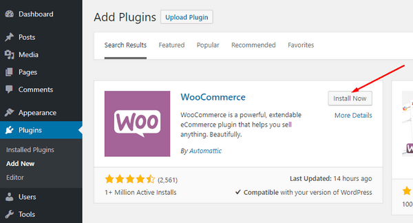 Install the WooCommerce plugin.