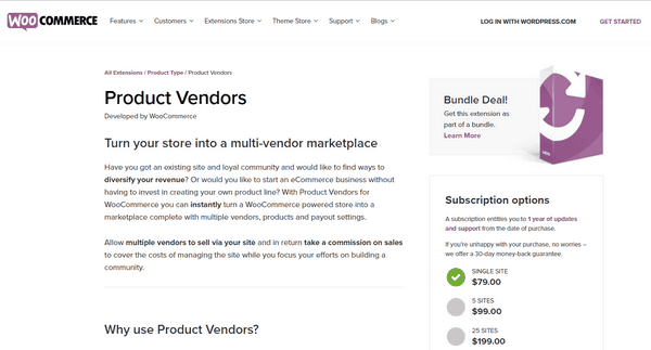 Product Vendors is an extension of WooCommerce.