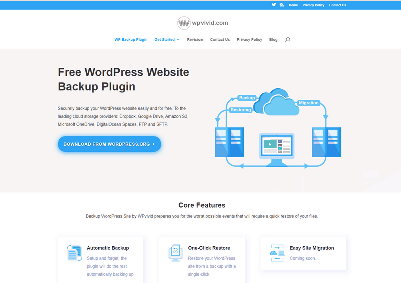Backup WordPress Site by WPvivid is a great WordPress backup plugin.