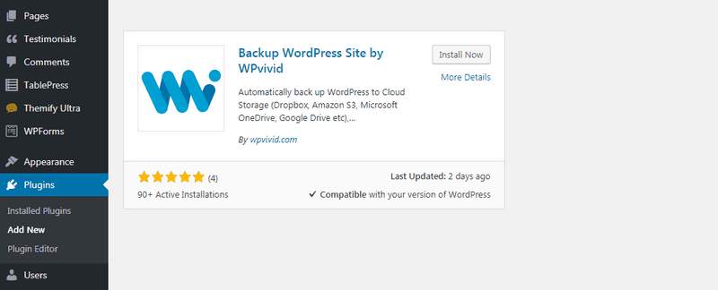 Install the Backup WordPress Site by WPvivid plugin.