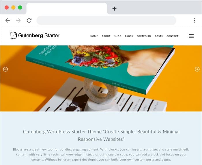 The Gutenberg Starter WordPress Theme is a free theme from Dessign.net.