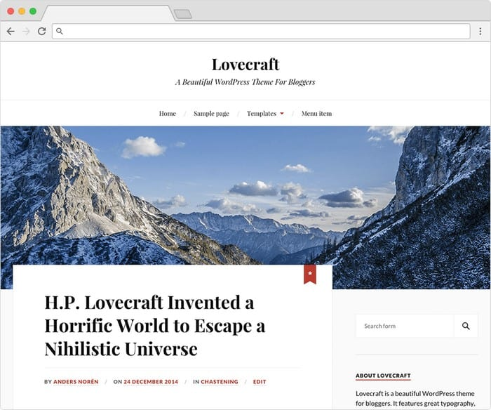 Lovecraft is a lightweight WordPress theme with a great number of features.