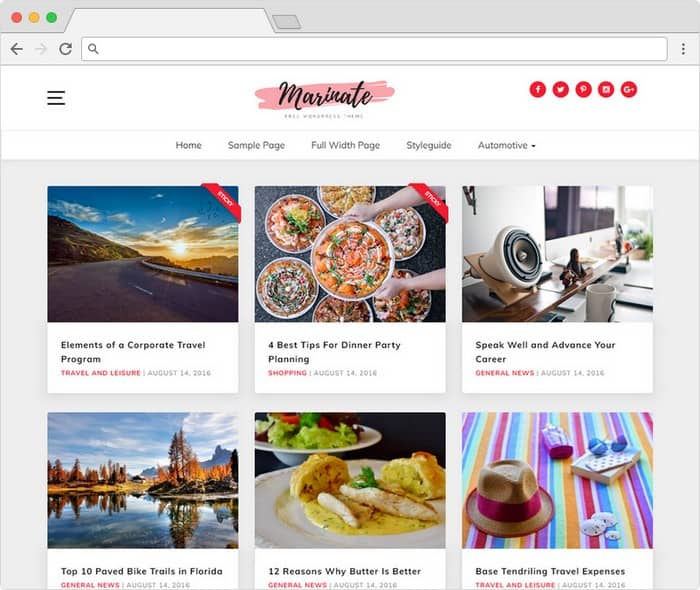 Marinate is a beautiful WordPress theme with grid layout.