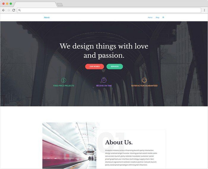 Neve is a Gutenberg WordPress theme by Themeisle.