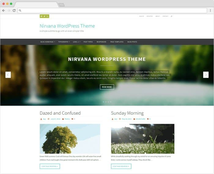 Nirvana is a free WordPress theme with clean-looking design.