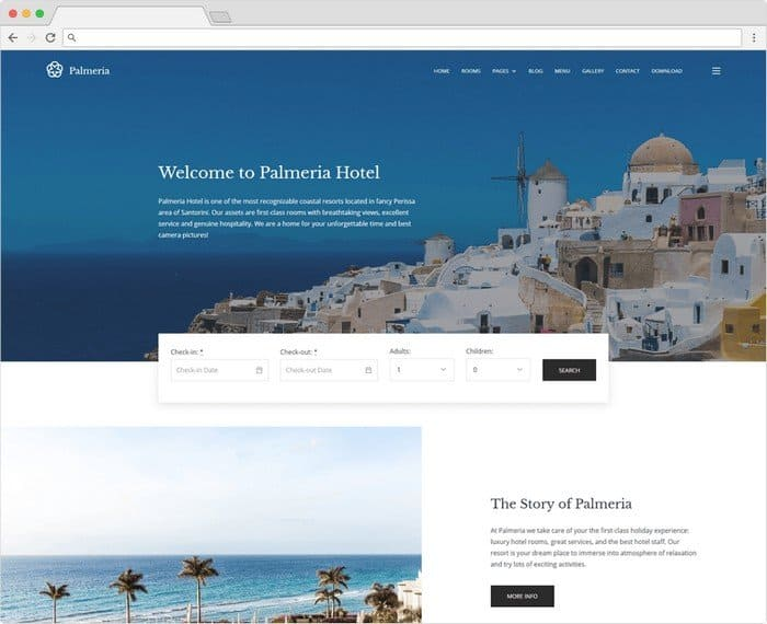 Palmeria free Gutenberg WordPress theme for rental businesses.