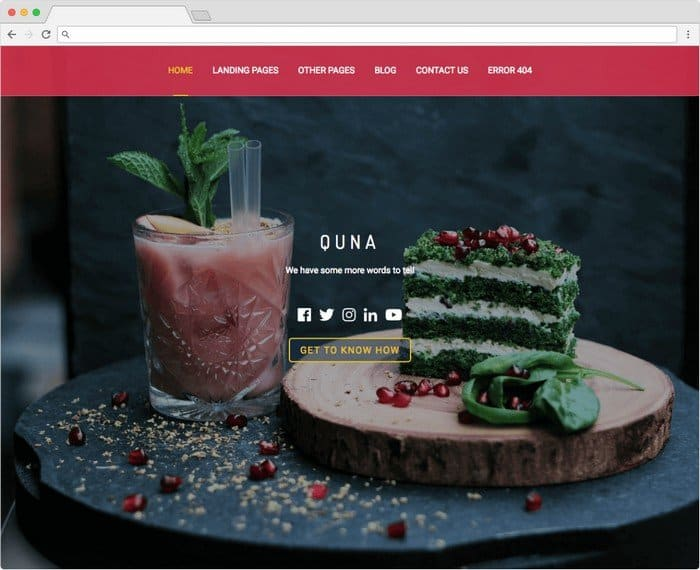 Quna is a free WordPress theme prefect for a restaurant website.