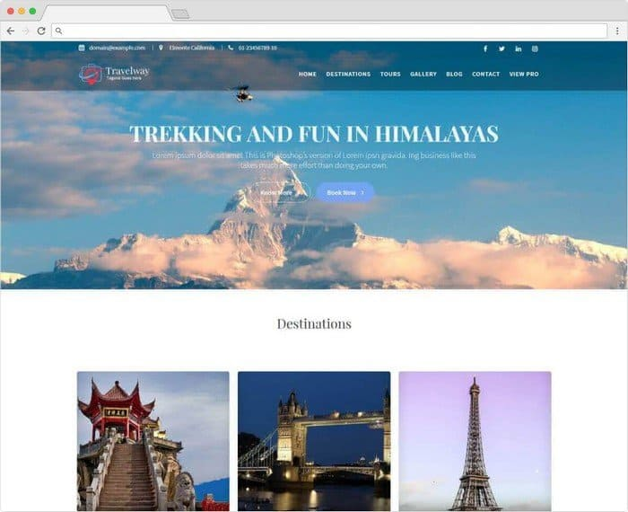 Travel Way is a WordPress theme for travel and portfolio websites.
