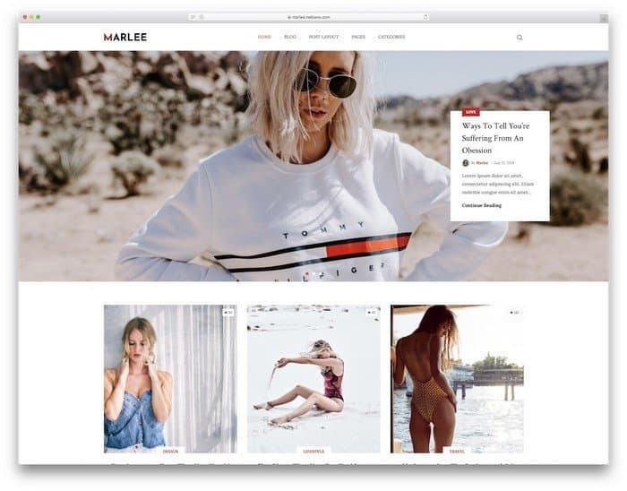 Marlee is a WordPress theme with clean and minimal design.