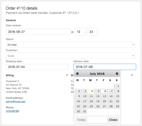 With the Order Delivery plugin you can provide an option for your customers to choose the delivery date.