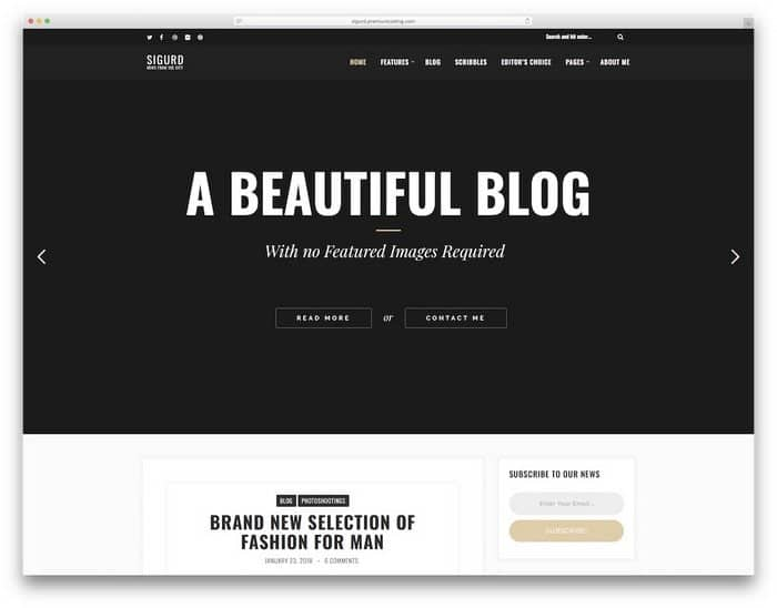 Sigurd is a WordPress theme for bloggers and writers.