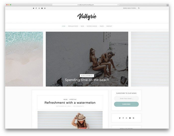 Valkyrie is a sophisticated and appealing WordPress blog theme.