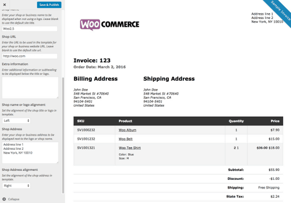 This WooCommerce extension WooCommerce plugin print invoices and packing lists.