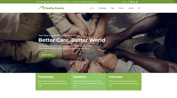 Charity Events is a non-profit and charity WordPress theme.