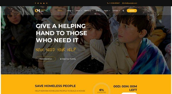Charity Hope is a fundraising WordPress theme.