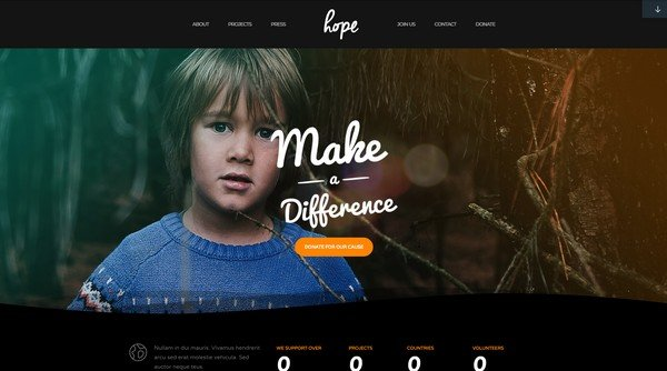 Hope is a WordPress theme from ThemeFuse built for fundraising.