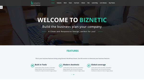 Biznetic is a one-page finance WordPress from Solwin Infotech.
