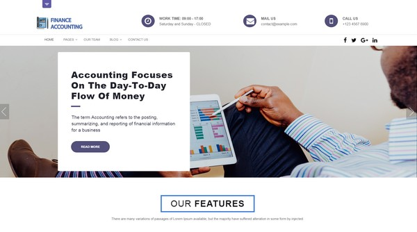 Finance Accounting is a free WordPress theme for financial advisors.