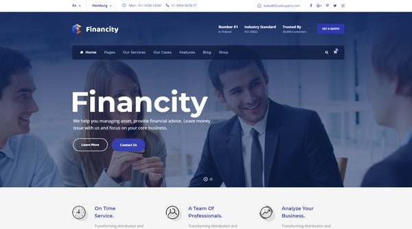 Financity is a finance and business WordPress theme from InkThemes.
