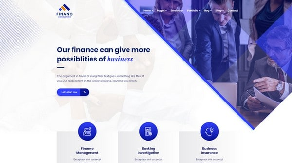 With Finano you can set up a finance and consulting website.