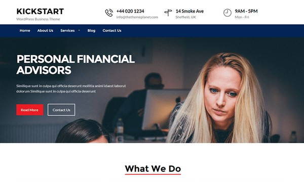 Kickstart Business is free WordPress theme for financial advisors.