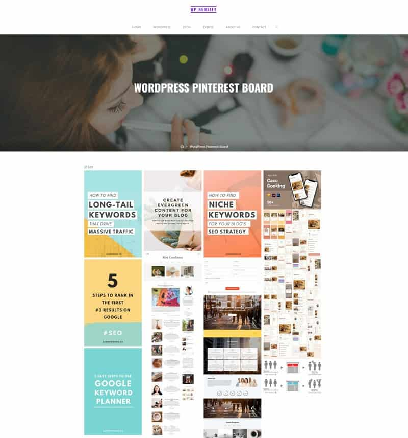 Result of my WordPress Pinterest board.