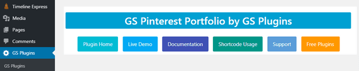 GS Pinterest Portfolio adds a new tab in the menu.