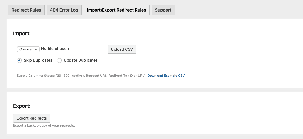 Redirect - Import:Export