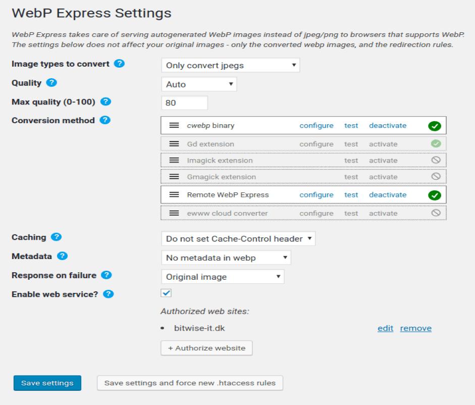 WebP Express Settings