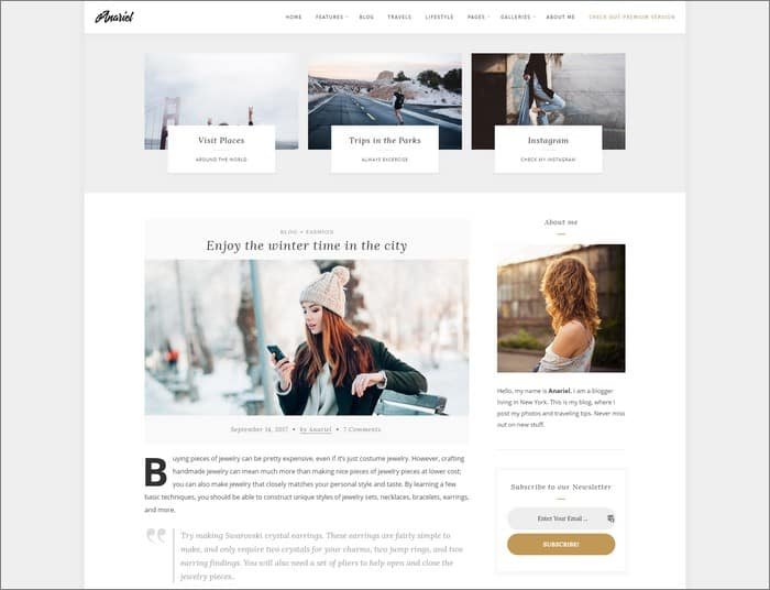 Anariel is a classy and modern WordPress Fashion Blog theme from PremiumCoding.
