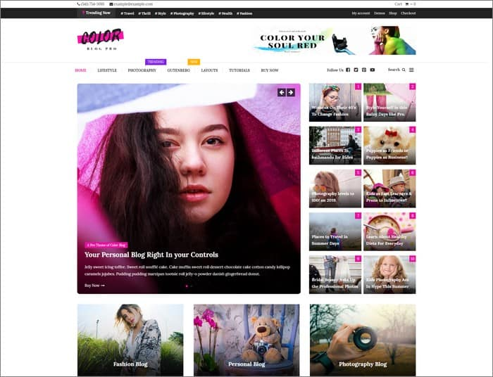 Color Blog Pro is a versatile and colorful WordPress theme from Mystery Themes.
