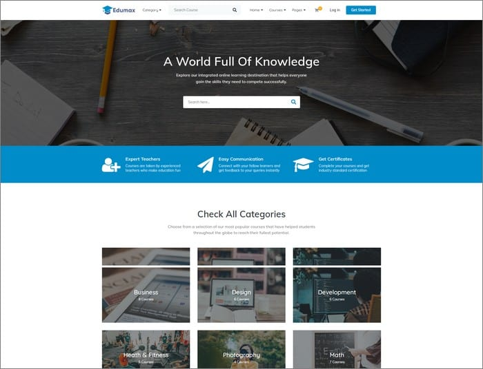 Edumax is a WordPress theme to build an online course portal from Themeum.