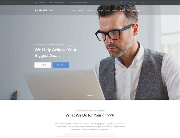 Imperion is an ultimate corporate WordPress theme from TemplateMonster.