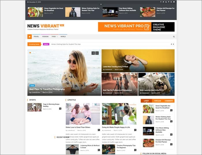 News Vibrant Pro is the selling WordPress theme 2019 at CodeVibrant.