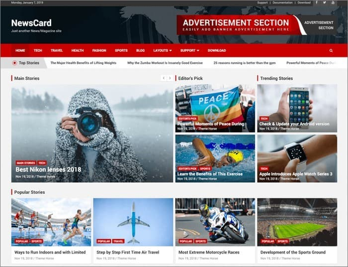 NewsCard is a Multi-Purpose Magazine/News WordPress Theme.