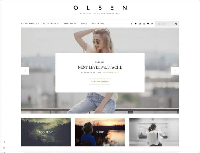 Olsen is CSSIgniters most popular theme