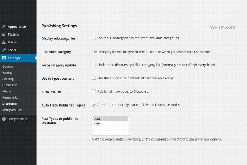 Publishing and comment settings