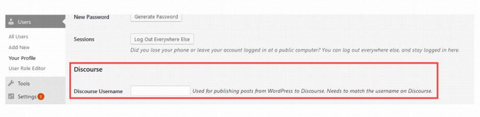 Publishing username