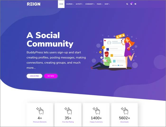 Reign BuddyPress theme is Wbcom Designs best selling WordPress theme 2019.
