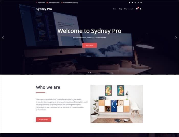 aThemes best selling theme is Sydney Pro.
