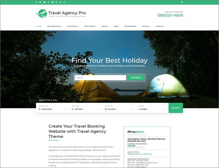 Travel Agency Pro is the best selling WordPress theme of 2019 of Rara Themes.