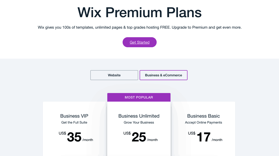 Wix Plans