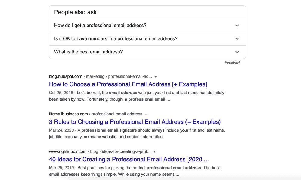 Professional email address