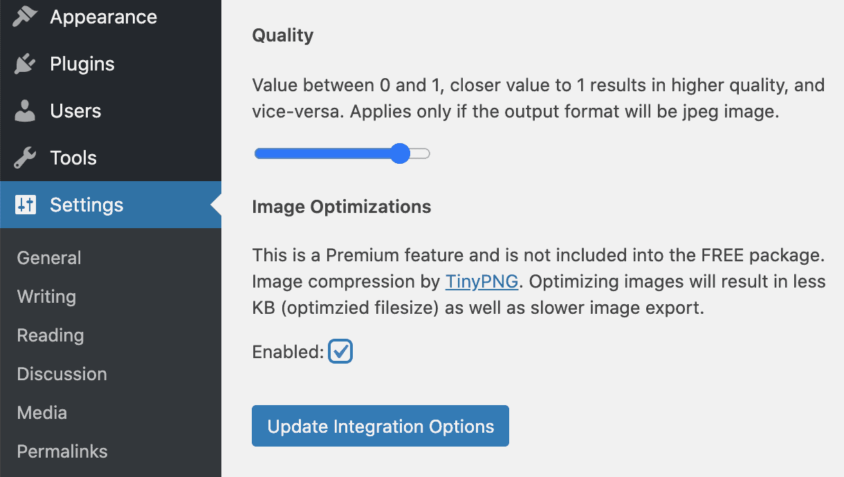 Image optimization setting