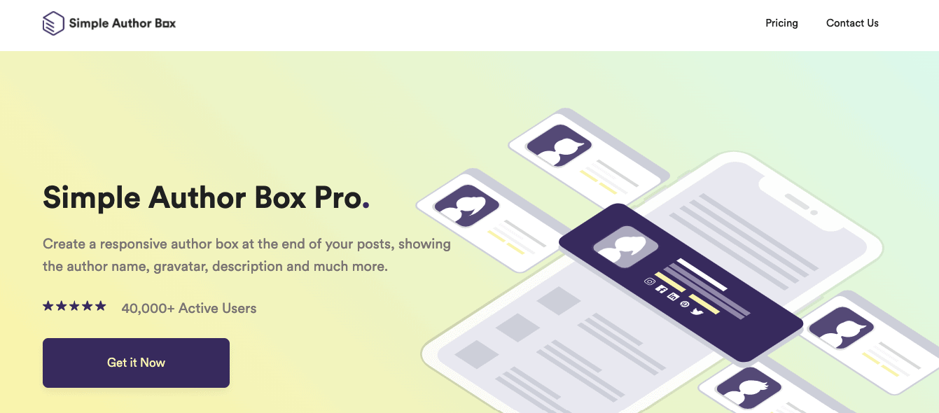 Simple Author Box landing page