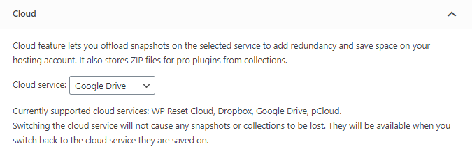 WP Reset cloud options